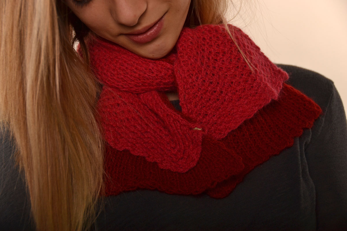 Double Layered Tuck Stitch Scarf